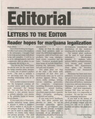 Letter to editor of a newspaper